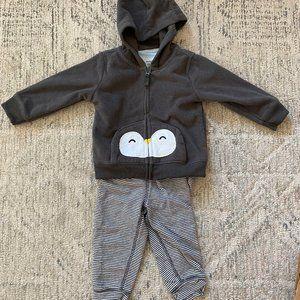 Carter's Fleece Penguin Holiday Hoodie Pants Set